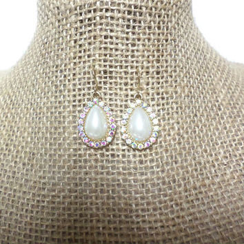 White Pearl Teardrop Bead AB Crystal Rhinestone Gold Hook Drop Dangle Earrings, gift