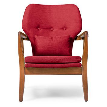 Baxton Studio Rundell Mid-Century Modern Retro Red Fabric Upholstered Leisure Accent Chair in Pine Brown Wood Frame Set of 1