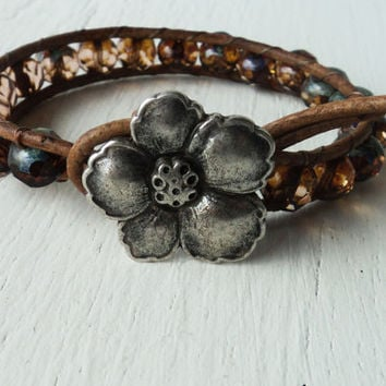 Leather Wrap Bracelet Brown Amber Bohemian Rustic Bracelet Weathered Stone Look Western Jewelry Flower Button Chocolate Brown