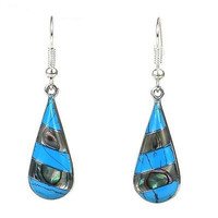Turquoise and Abalone Stripes Alpaca Silver Earrings - Artisana