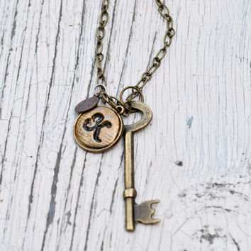 Initial Key Necklace by JageInACage on Etsy