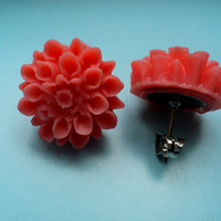 Peach mums earrings on flat backs by mandygibson on Etsy