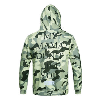 Camouflage Men/women 3d Sweatshirt With Hat Print Famous Star Letters Autumn Winter Thin Hooded Hood