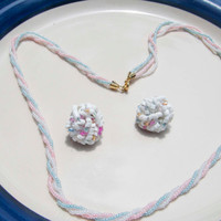 Vintage Glass beaded Necklace with matching Clip on Earrings
