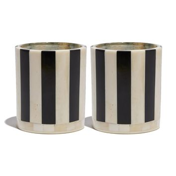 PAIR OF STRIPED VOTIVE CANDLES