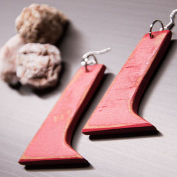 Red Wood Earrings, Long Earrings, Dangle Earrings, Distressed Wood, Wood Earrings, Wood Jewelry, Eco Friendly, Unique Earrings, Beach Style