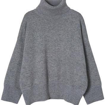 Crop Fit Turtleneck Sweater