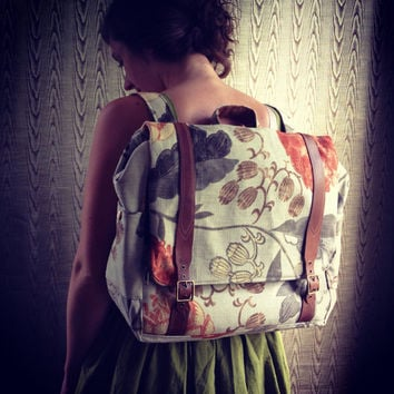 custom Convertible backpack messenger travel bag- floral rucksack with adjustable leather straps