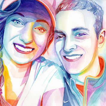 CUSTOM COUPLE PORTRAIT, Romantic gift, for girlfriend gift, for boyfriend gift, for wife, for husband, anniversary gift, watercolor portrait