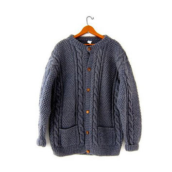 Vintage gray wool sweater. Fisherman's sweater. Chunky knit cardigan sweater with pockets. Oversized cable knit sweater coat. Nepal sweater.