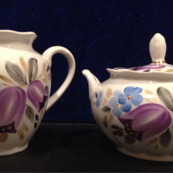 Russian Tulip Cream and Sugar Tea Set- Vintage 1960's Rare Pattern Purple and Gold Leafing