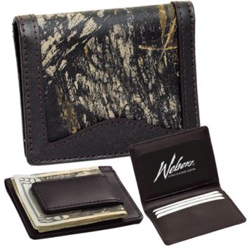 CAMO LEATHER & BROWN LEATHER COMBO LEATHER Front Pocket Wallet w/ Magnetic Money Clip