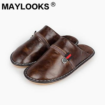 Men 's Slippers Winter genuine Leather Home Indoor Non - Slip Thermal Slippers 2018 New Hot Maylooks tb012