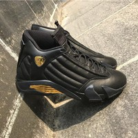 "[ FREE SHIPPING ] AIR JORDAN 14 (BLACK / GOLD ""DMP"") BASKETBALL SNEAKER"