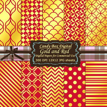 Gold and Red Scrapbook, Gold and red paper, gold foil paper, red and gold paper, digital scrapbook paper, gold digital - Commercial Use OK
