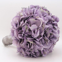 Wedding Bouquet Lavender Silk Hydrangea Groom Boutonniere Lavender Silk Flower Bridal Bouquet Hydrangea Antique Lavender Silver Grey Ribbon