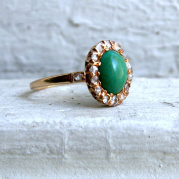 Antique 14K Rose Gold Diamond and Turquoise Ring.