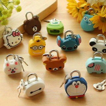 X38 Cute Creative Cartoon Kawaii Animals Luggage Bag Metal Lock Journal Diary Book Password Lock File Holder Accessories