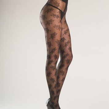 Bewicked Female Floral Designed Sheer Tights With Gusset. BW768