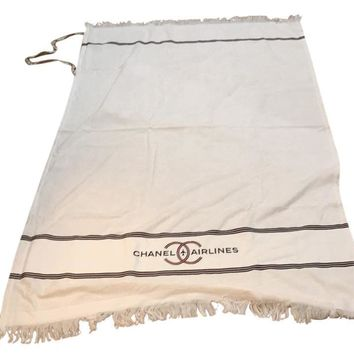 Chanel Airlines Large White Beach Towel Blanket Brand New