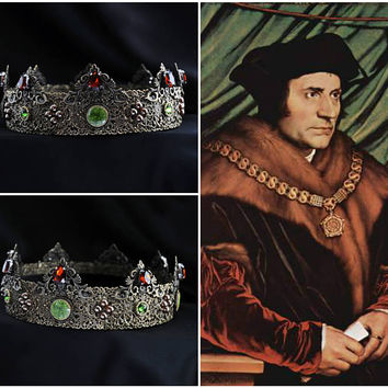Medieval Men's Handmade Crown Bronze Metal Men's Medieval Crowns Mens King Crown