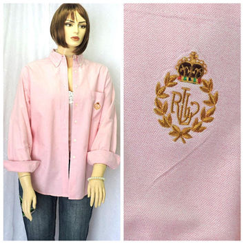 Pink oxford shirt / L / vintage 80s Ralph Lauren shirt / preppy long sleeve button down oxford / cotton oxford blouse / size 14