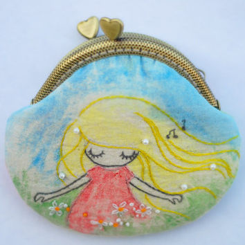 The Song of Spring Vintage Embroidery fairy Purse (Metal Frame)