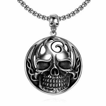 New Arrival Shiny Gift Jewelry Stylish Skull Pendant Hot Sale Men Necklace [10783254659]