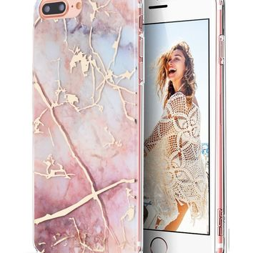 iPhone 7 Plus Case,iPhone 8 Plus Case,Spevert Marble Pattern Hybrid Hard Back Soft TPU Raised Edge Ultra-Thin Shock Absorption Protective Case for iPhone 7 Plus/iPhone 8 Plus - Colorful