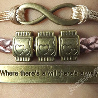 The antique silver Where there is a will there is a way, infinite causal relationship bracelet,soulmate couple of bracelet J-3