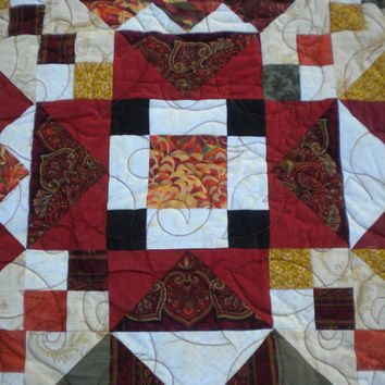 "Fall Throw Quilt, Autumn Lap Quilt, Dahlia Floral Quilt, 60"" x 78"", rust throw, fall floral throw, sofa blanket orange, autumnal quilt"