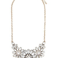 Rhinestone Flower Statement Necklace