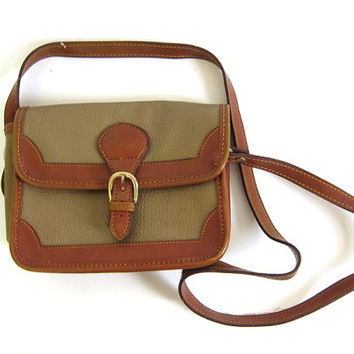 Vintage taupe and brown leather cross body purse. small boxy purse.