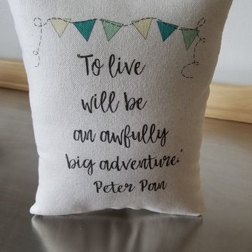 Kids throw pillow Peter Pan baby room decor cotton cushion