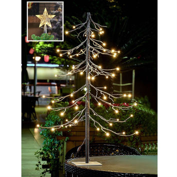 3FT Pre-Lit Snow Fir Christmas Tree Indoor Outdoor with Led Tree-Top Star