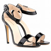 Summer Fashion Bright Lacquer Leather Buckle Band Exposed Toe Sandals Women Heels Shoes