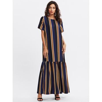 Vertical Striped Drop Waist Full Length Dress