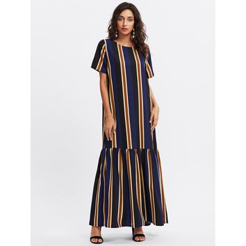 Vertical Striped Drop Waist Full Length Dress Multicolor