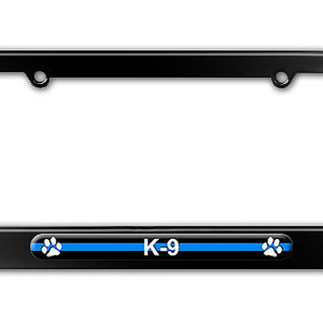 Thin Blue Line K-9 Unit Paw Prints - Police Metal License Plate Frame