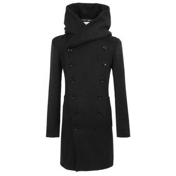 Black Hooded Collar Long Sleeves Trench Coat