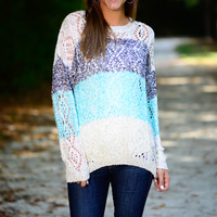 Sequin Fever Sweater, White/Blue