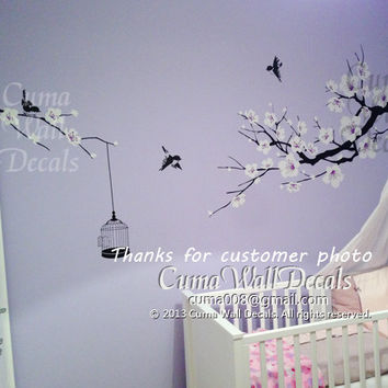 Nursery wall decal baby girl decal cherry flowers wall decal wedding wall mura kids- z157 by cuma