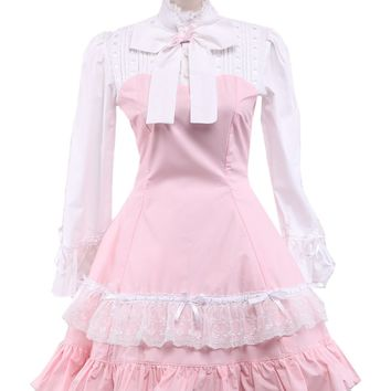 Pink with White Cotton Lace Classic Lolita Dress