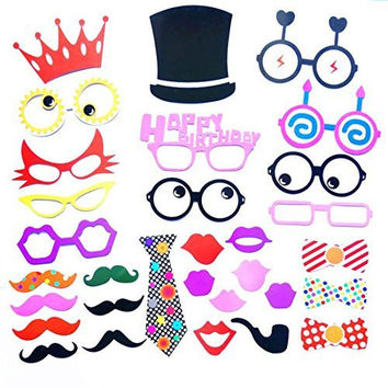 COOLOO Photo Booth Props Diy Kit For Birthday Party,Pack Of 31:Various Colors Of Mustache,Glasses Frames,Ties,Lips,Crown,Pipe,Eyes,Hat and Happy Birthday Sign