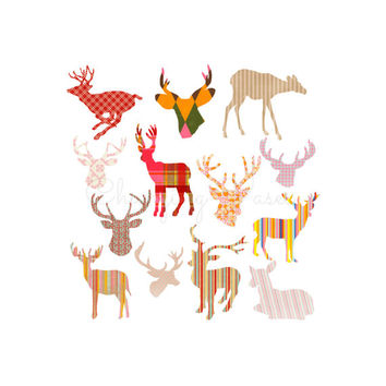 Instant Digital Download Cambodian Deer Head Silhouettes Buck Doe Stag Animal ClipArt Clip Art Graphic Illustration Print Transfer Overlay