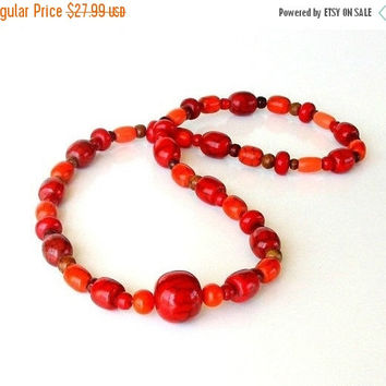 SALE Chunky Red & Orange Beaded Necklace, Vintage Bold Statement Necklace, Long Red Beaded Necklace.