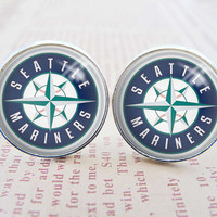 Unique Mens Cuff Links , Silver MLB Seattle Mariners Logo Cufflinks , Gift Box ,  Custom Cuff Links