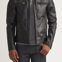 State High Collar Leather Coat