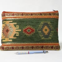 Ethnic Tribal Style Handbag - Makeup Bag - iPad Cover - Large Pouch with Kilim Pattern - Boho clutch - Dark Green