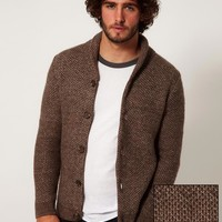 ASOS Textured Shawl Cardigan - Brown